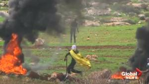 Palestinians clash with Israeli forces in the West Bank