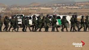 U.S. border patrol carry out security drills near Mexican border crossing points