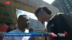 Raptors victory parade: Danny Green on why his hair is so huge now