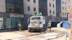 Explosion, fire damages vacuum truck in downtown Winnipeg