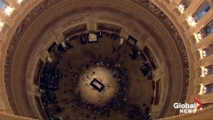 Time-lapse shows mourners filing past Bush casket in Capitol Rotunda