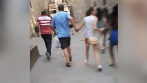 Pedestrians flee as manhunt for Barcelona van attack driver underway