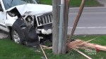 Jeep strikes pole in Peterborough