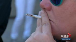 Marijuana users smoke-up at Calgary City Hall on first day of legalization
