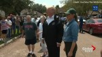 President Trump personally greets supporters outside Houston flood evacuation centre