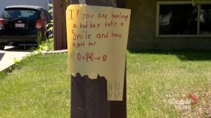 12-year-old Calgary girl puts up 'happy signs' to boost people's spirits: 'She's amazing!'