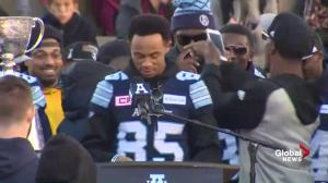 Grey Cup MVP DeVier Posey speaks at Argos victory rally