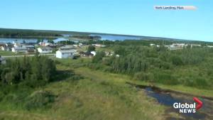Aerial view of remote Manitoba community where alleged sighting of B.C. suspects reported