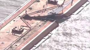 Ship collides with 2 barges, causes gas product spill in Houston Ship Channel