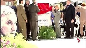 Gilles Duceppe's mother at inauguration of Parc Jean-Duceppe