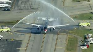 Donald Trump's plane receives water cannon salute