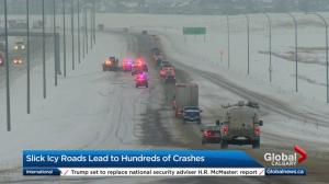 Winter storm makes roads slick and icy for Calgary drivers