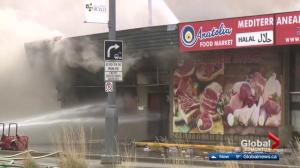 Large strip mall fire shuts down part of Stony Plain Road