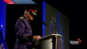 Edmonton Police Chief Rod Knecht pays respect to Const. Woodall