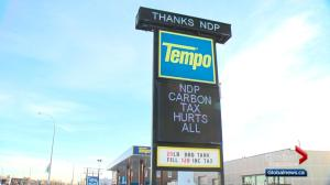 Alberta gas station sign has blunt message for Justin Trudeau and Rachel Notley