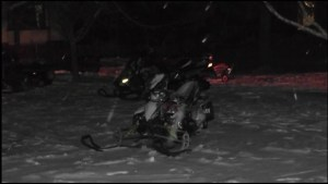 Snowmobiler falls through open water on Chemong Lake in Bridgenorth