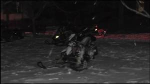 Snowmobiler falls through open water on Chemong Lake in Bridgenorth
