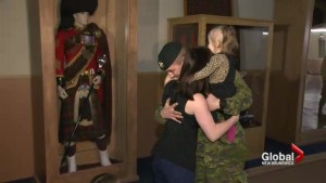 Canadian soldiers return from Middle East to emotional reception