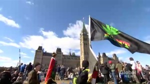 People gather outside Parliament Hill for 4/20 rally ahead of marijuana legalization