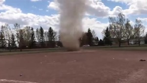 Alberta dust devil causes chaos for softball players