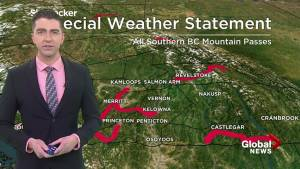 Late season snowfall expected on major southern B.C. interior mountain passes