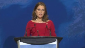 Freeland says the 'international community will continue to take  necessary steps to stop North Korea's nuclearization'