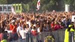 England fans cheer, toss beer in air as they celebrate goal against Croatia at World Cup