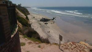 Marine helicopter makes emergency beach landing