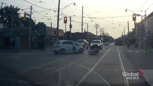 Dash cam video shows early-morning collision between car, motorcycle