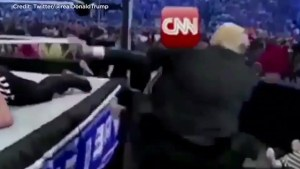 Trump tweets bizarre video of himself clotheslining CNN