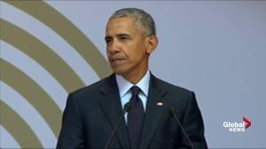 Former U.S. president Barack Obama talks about 'strange times'