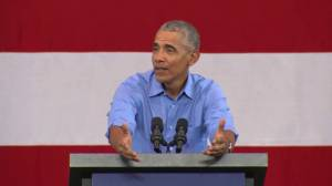 'He just makes it up': Obama slams Trump over tax cut