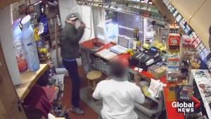 Spectacular video shows machete-wielding clerk fending off knife-wielding suspects in store robbery attempt
