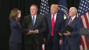 Donald Trump helps swear in new CIA Director Gina Haspel