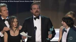 'Stranger Things' star gets standing ovation after delivering impassioned speech at the SAG Awards