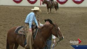 Global's own Amber Schinkel at Calgary Stampede cutting horse futurity