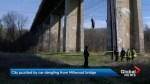 Dangling car on Millwood Bridge mystifies police