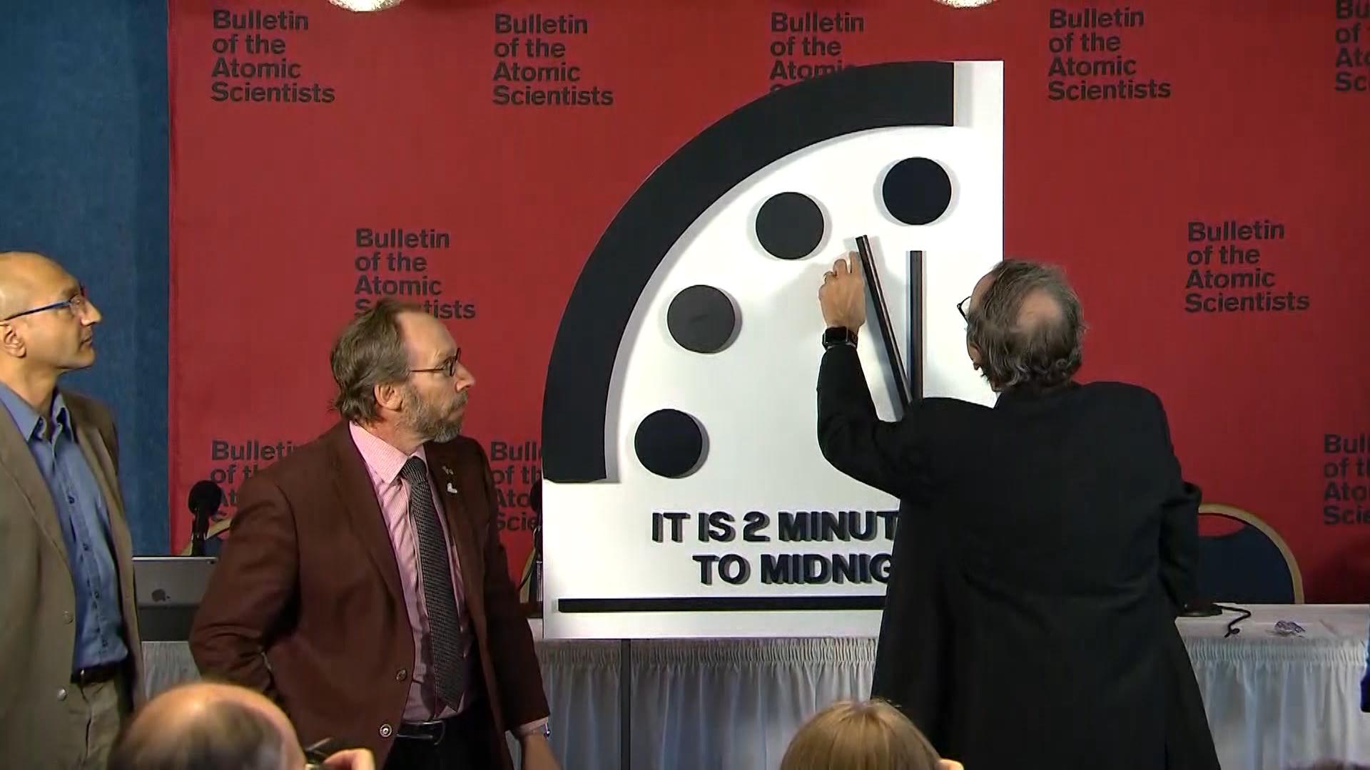 Doomsday Clock set at 2 minutes to midnight