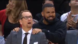 Drake's courtside antics draw major attention at Raptors' home games vs. Bucks