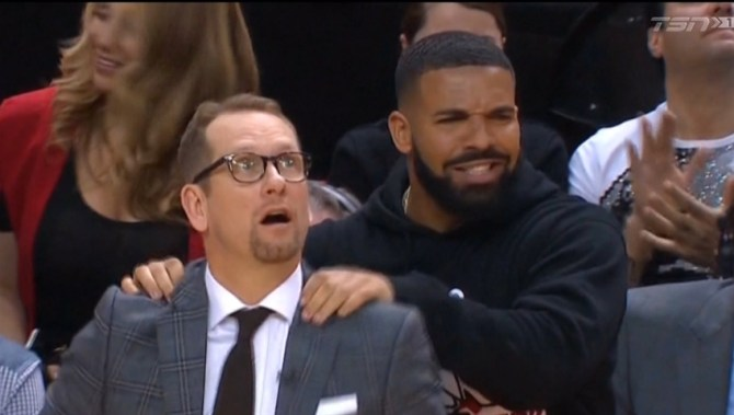 Drake courtside antics draw major attention at Raptors game as team breaks even with Bucks