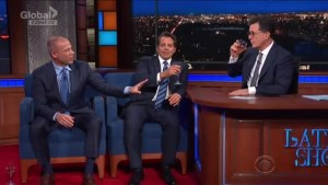 Scaramucci and Avenatti talk Trump while sipping rosé with Colbert