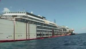Costa Concordia refloated