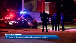 Three violent incidents in Toronto Sunday night