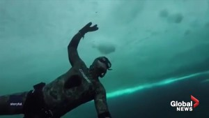 Freediver explores the sub-zero depths of an Ontario shipwreck