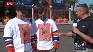 Milan Lucic's family cheers on Oilers in Anaheim