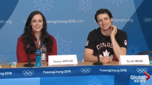 Tessa and Scott are floored after UK reporter asks them how it feels to be global icons