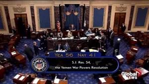 Senate votes for resolution ending U.S. support of Yemen war