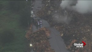 Aerial view of Langley recycling plant fire