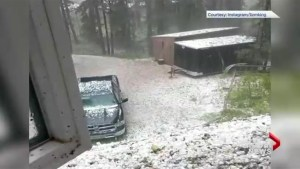 Instagram video shows large amount of hail in Bragg Creek