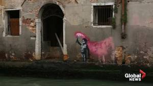 Banksy work showing a child with flare in Venice confirmed as genuine (01:04)
